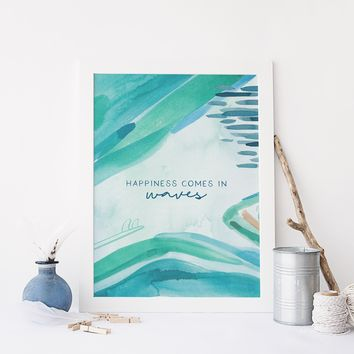 Happiness Comes in Waves Quote Beach Wall Art Print