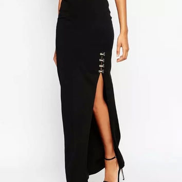 Black Ankle-Length Slit Maxi Skirt