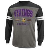 Minnesota Vikings End of the Line IV Heathered Long Sleeve T-Shirt - Ash/Black