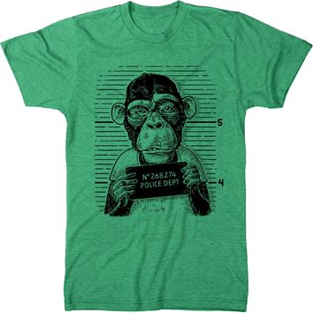 Simian Series - Monkey Mug Shot Men's Modern Fit Tri-Blend T-Shirt