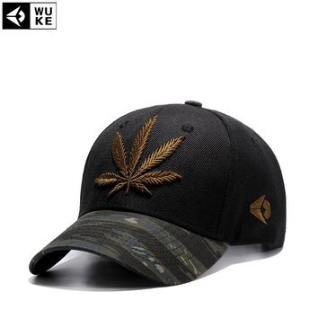 Wuke Fashion Embroidery Maple Leaf Cap Weed Snapback Hats For Men Women Cotton Swag Hip Hop Fitted Baseball Caps