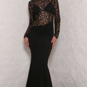 Red Carpet Ready Black Sheer Glitter Lace Pattern Long Sleeve Mock Neck Cut Out Back Mermaid Maxi Dress Evening Gown