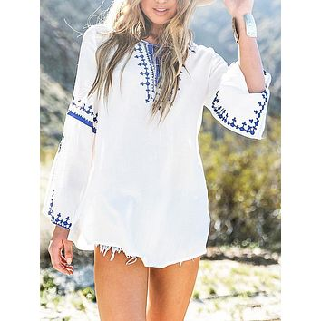 Long-Sleeved Embroidered Ethnic Style Beach Mini Dress