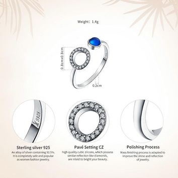 Genuine 925 Sterling Silver Minimalism Classic Circle & Blue CZ Open Finger Rings for Women Wedding Jewelry S925 SCR080