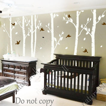 white birch Tree Decals nursery decals Kids wall decals baby decal  room decor wall decor wall art birch decals-birds in Birch forest 100in