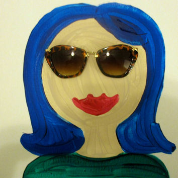 "Sunnies Girl - With Blue Hair and Tortoise Shell Sunglass Frames - 12"" by 12"""