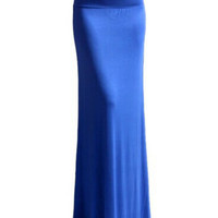 Blue Fishtail Maxi Skirt