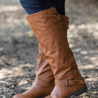 Rebel Girl Boots-Cognac