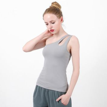 Sexy One Shoulder Women Shirt Yoga Top Quick-Dry Running Shirt Fitness Tops Sports Gym Vest Sportswear Workout Clothing