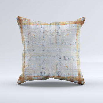 Painted Grunge Rusted Panel ink-Fuzed Decorative Throw Pillow