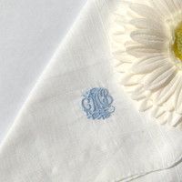 Vintage Monogrammed Hanky Handkerchief Men or Women's