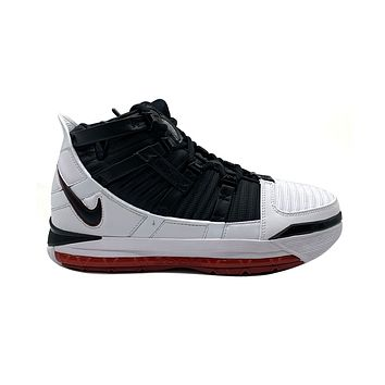 Nike Men's LeBron 3 III QS Home White Black Varsity Crimson Basketball Shoes