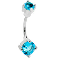 Aqua Gem Double Round Tip Belly Ring | Body Candy Body Jewelry