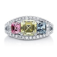 Multicolor Asscher CZ 925 Sterling Silver 3-Stone Fashion Ring 3.38 Ct #r802