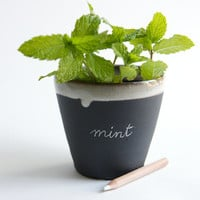 Black and White Ceramic Planter- garden decor, herb label by RossLab