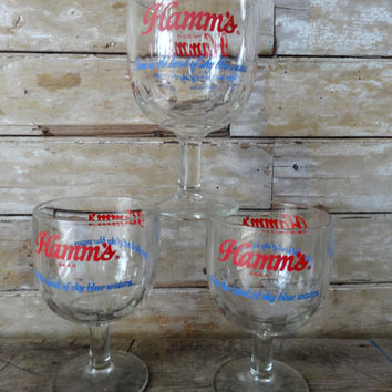 "Vintage Hamm's Beer ""From the Land of Sky Blue Waters"" 16 Ounce Goblet Cup Mug Glass 1 of 3"