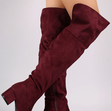Suede Over-The-Knee Back Slit Block Heel Boots