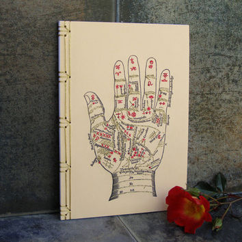 Palmistry Notebook. Embroidered A5 Notebook. Zodiac Hand Journal. Magical Book. Fortune Teller Notebook. Hand Reading Art Book. Stitch Art
