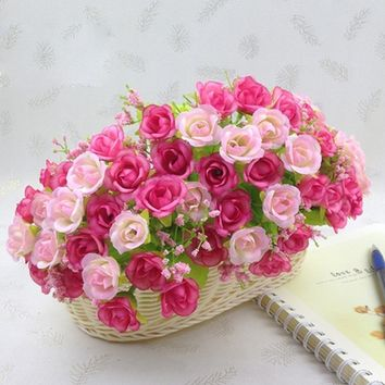 1pc 21 Heads Artificial Peony Silk Rose Flower Bridal Bouquets Fake Artificial Silk Party Wedding Garden Home Living Room Decora
