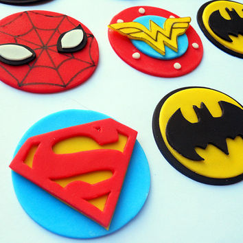 SUPERHEROES Fondant Cupcake Toppers by SWEETandEDIBLE on Etsy