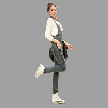 Pure cotton boyfriend overalls Korean style vintage slim girl cowboy denim pants fashion sexy high waist skinny women jeans D8