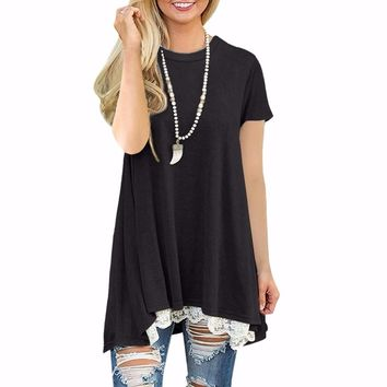 Casual Lace Short Sleeve Pullover Top