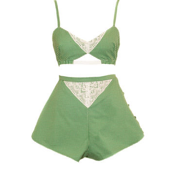 Handmade Green Check Cotton French Knickers And Bra, Lounge Wear. UK Size 8,10,12,14,16