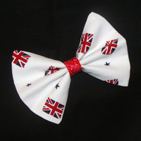 Union Jack British Flag Hair Bow Vintage Inspired Hair Clip Rockabilly Pin up Teen Woman
