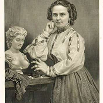"Portrait Gallery - ""HARRIET HOSMER"" - Steel Engraving - 1874"