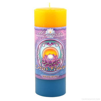 Lotus Flower Renewal Mandala Pillar Candle Yellow/Blue on Sale for $14.99 at The Hippie Shop