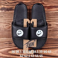 NIKE Summer Newest Women Men Cute Smiling Face Flats Slipper Sandals Couple Shoes Black