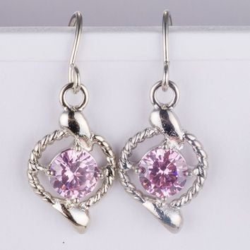 Pink Crystal Circle Earring