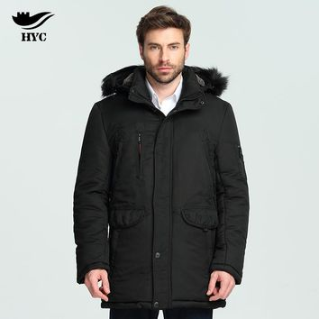 HAI YU CHENG Winter Jacket Men Wadded Parka WindBreaker Long Trench Coat Plus Size Parka Men Coat Outerwear Fur Collar Anorak
