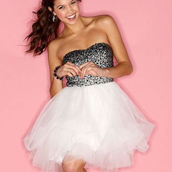 Trixxi Juniors Dress, Strapless Sweetheart Sequin A-Line Tulle - Juniors Dresses - Macy's