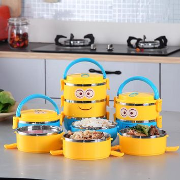 New Cute Cartoon Minion Lunch Box  For Kids With Plastic Tiffin Boxes Thermal Bento For School Students In Tableware