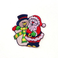 Snow Man and Santa Clause  Applique Iron on Patch