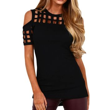 Black Cage Cutout Cold Shoulder Top