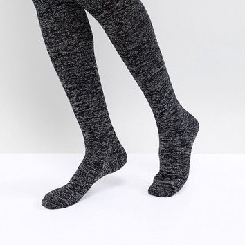 Hunter Original Black Knee High Glitter Boot Socks at asos.com