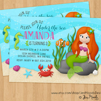 Girl's Mermaid Birthday Invitation, Under the Sea Party Invite - Printable, Digital, Custom, Swimming, Pool, Fish, Ocean, Water, Crab