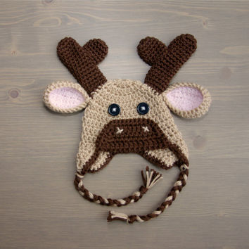 Crochet Moose Hat, Baby Moose Hat, Crochet Baby Hat, Crocheted Baby Hat, Newborn Photo Prop, Newborn Hat, Animal Hat, Baby Boy, Baby Girl
