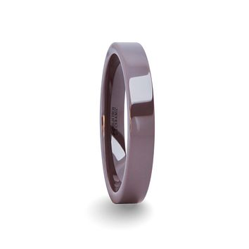 Unique Purple Lilac Gray Ceramic His and Hers Wedding Band