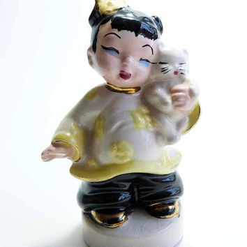 Late 1940s Chubby Chinese Girl Holding Kitten Figurine by Florence Ceramics Pasadena California Art Pottery Era Yellow Flowers Gold Details