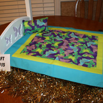 """American Girl sized, reversible doll bed quilt 16"""" x 19"""" with matching pillow 4"""" x 6.5"""""""