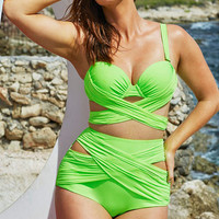 Plus Size Green Wrap Underwire Cut-out High Waist  Bikini