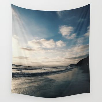 Sunset on the Seashore Wall Tapestry by Emma
