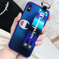 Champion Tide brand couple wristband iPhone7p mobile phone case soft shell cover Blue