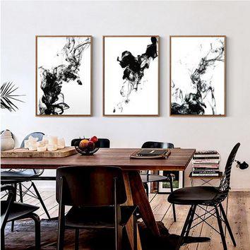 Dynamic Abstract Ink Canvas Paintings Chinese Black White Poster Print Nordic Wall Art Picture for Living Room Home Office Decor