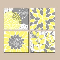 Floral Wall Art, YELLOW Gray Bedroom Pictures, CANVAS or Prints, Flower Bathroom Artwork, Succulent KITCHEN Wall Art,Set of 4 Home Decor