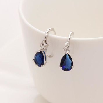 ac DCCKO2Q 2017 New Summer Style Royal Blue Austria Crystal Silver Clip Dangle Earrings For Woman Charm aretes Pierced on ear jewelry