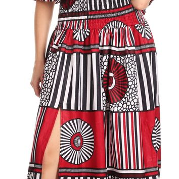 Sakkas Buhle Ruffle Off-shoulder Long Dress Wax African Ankara Dutch Print